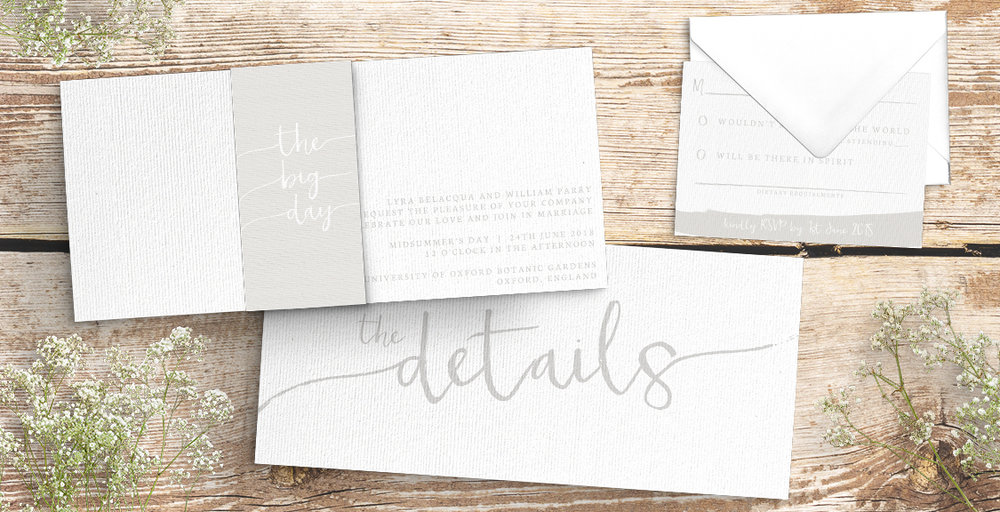 subtle powder white wedding invitation