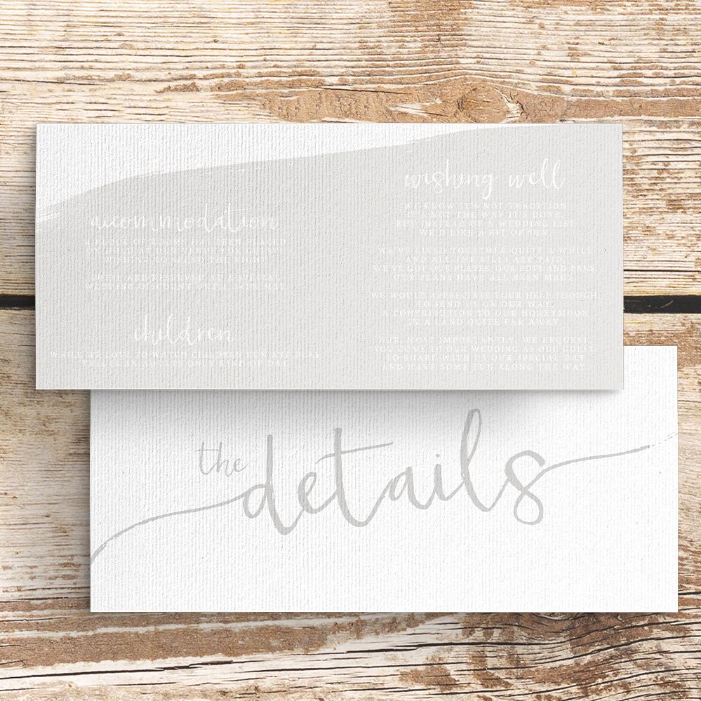 Subtle Powder White Details Card - minimal simple pale grey wedding wedding stationery suite uk - Hawthorne and Ivory