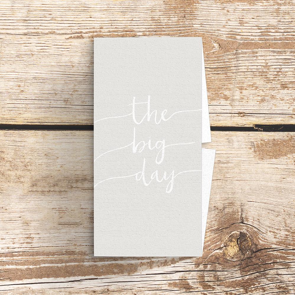 Subtle Powder White Belly Band - minimal simple pale grey wedding wedding stationery suite uk - Hawthorne and Ivory