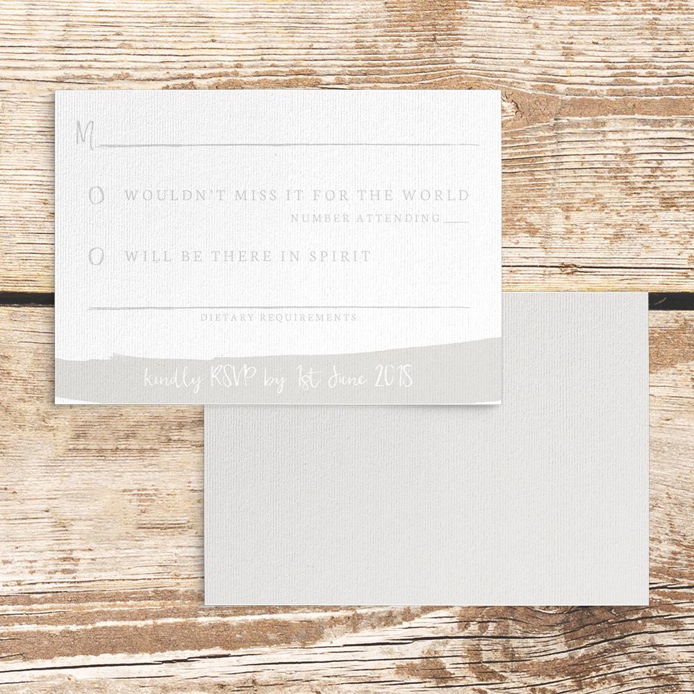 Subtle Powder White RSVP Card - minimal simple pale grey wedding wedding stationery suite uk - Hawthorne and Ivory