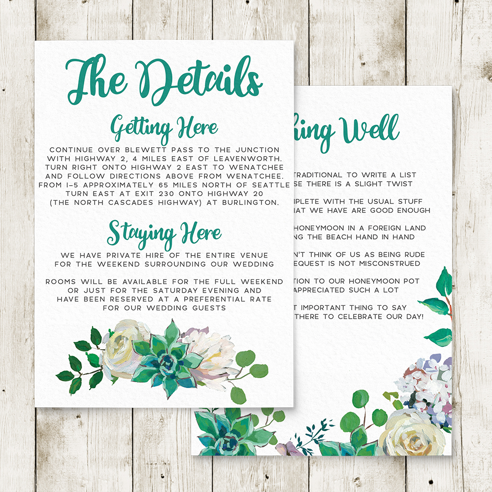 Succulent Rose Details Card - teal turquoise hydrangea eucalyptus floral wedding stationery suite uk - Hawthorne and Ivory
