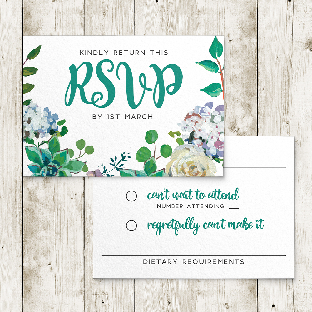 Succulent Rose RSVP Card - teal turquoise hydrangea eucalyptus floral wedding stationery suite uk - Hawthorne and Ivory