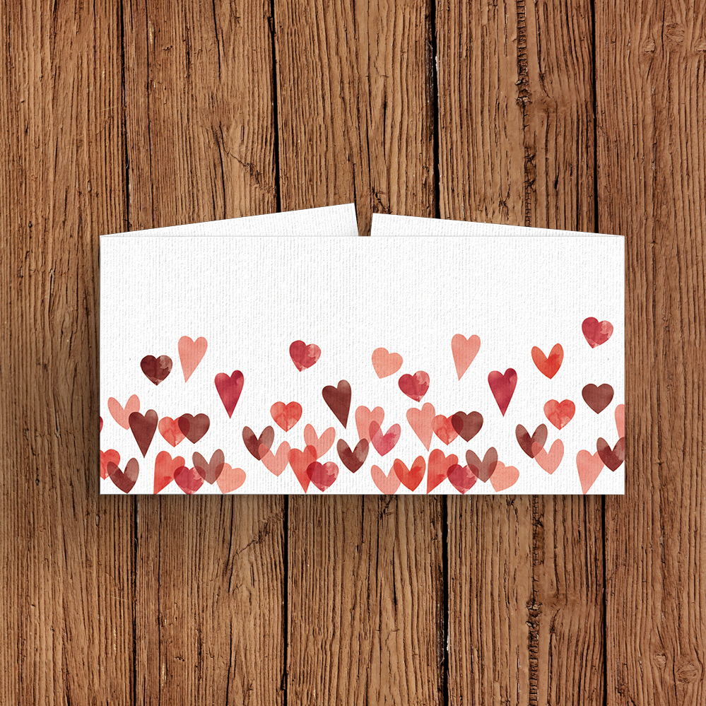 Valentines Hearts Belly Band - watercolour red pink heart wedding stationery suite uk - Hawthorne and Ivory