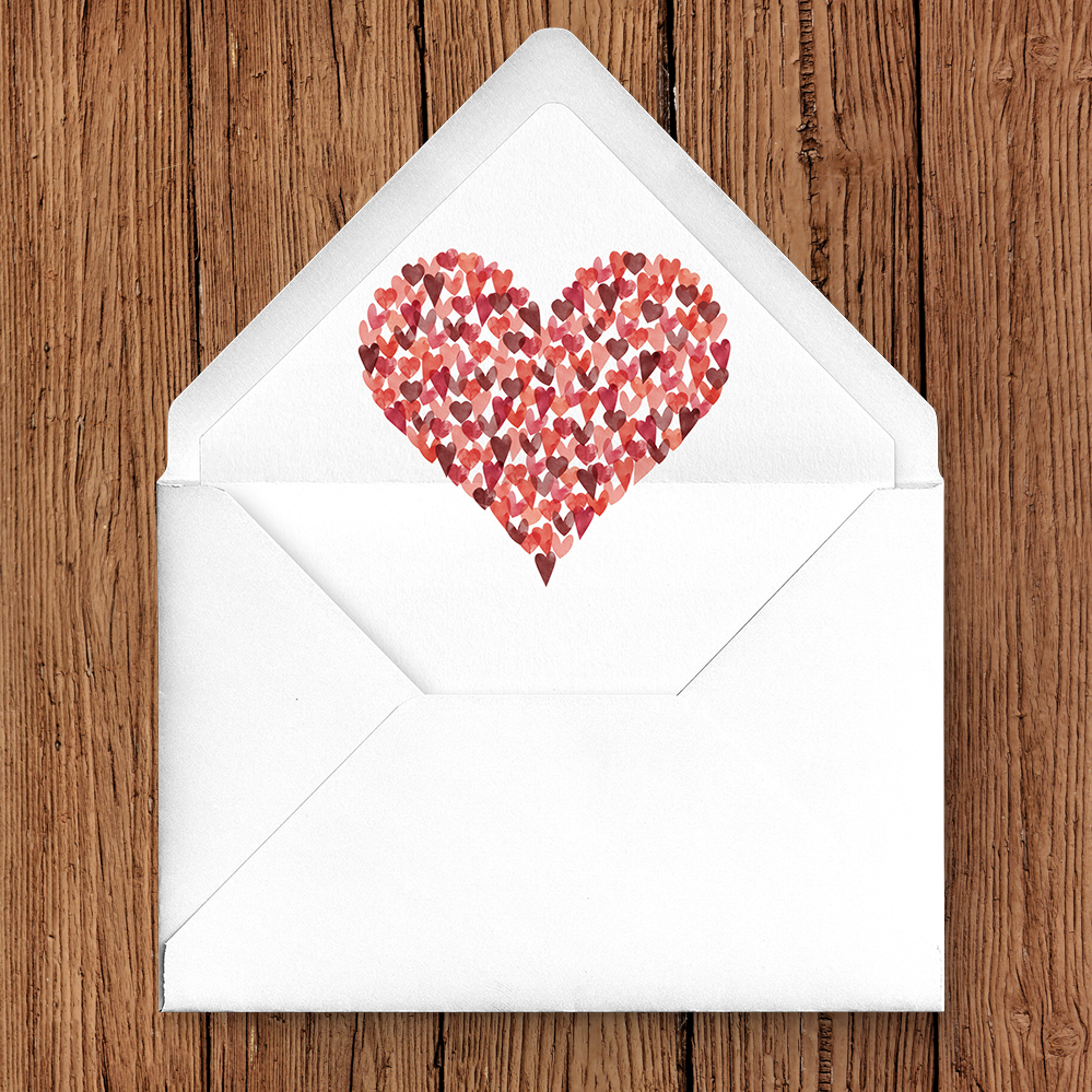 Valentines Hearts Envelope Liner - watercolour red pink heart wedding stationery suite uk - Hawthorne and Ivory