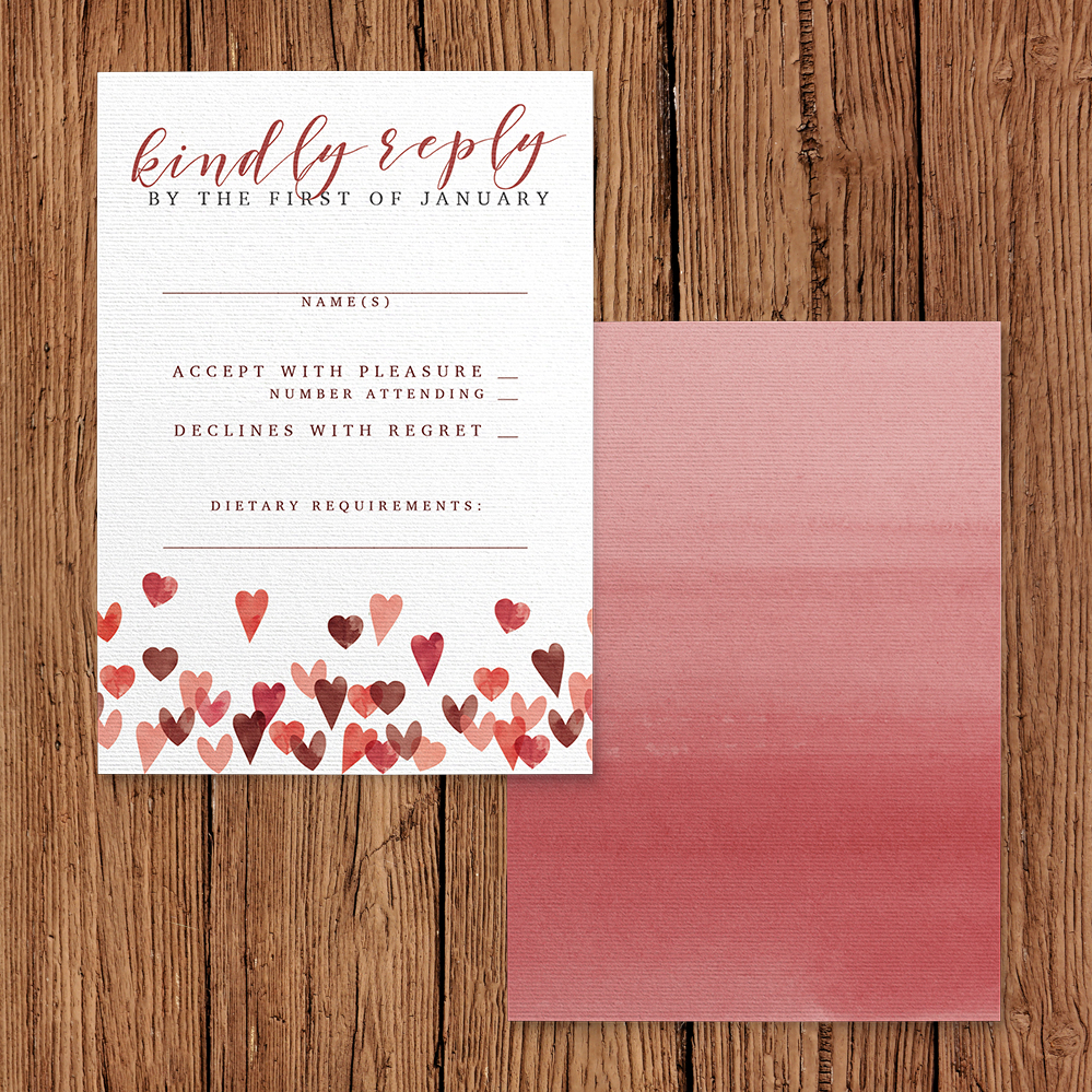 Valentines Hearts RSVP Card - watercolour red pink heart wedding stationery suite uk - Hawthorne and Ivory
