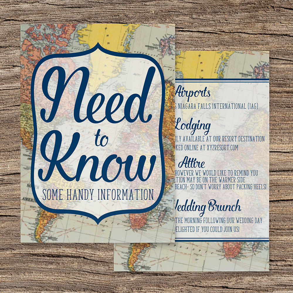 Vintage Maps Details Card - travel destination wedding stationery suite uk - Hawthorne and Ivory