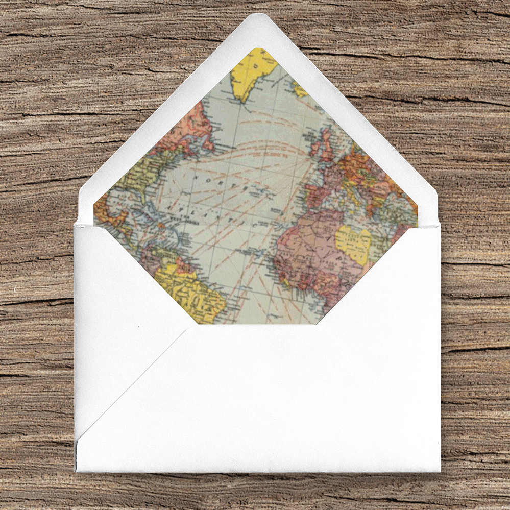 Vintage Maps Envelope Liner - travel destination wedding stationery suite uk - Hawthorne and Ivory