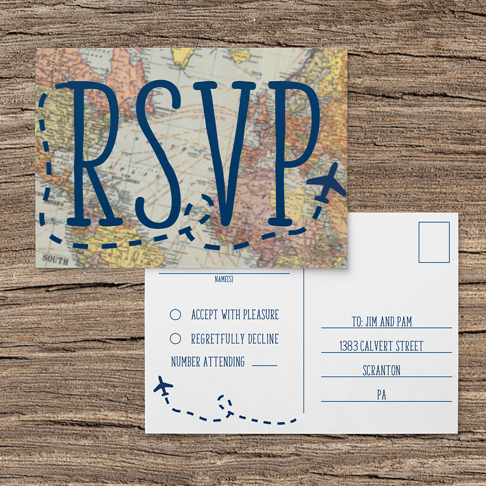 Vintage Maps RSVP Card - travel destination wedding stationery suite uk - Hawthorne and Ivory