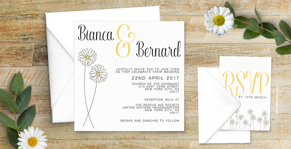Yellow Daisy Invitation - lemon floral simple modern wedding stationery suite uk - Hawthorne and Ivory