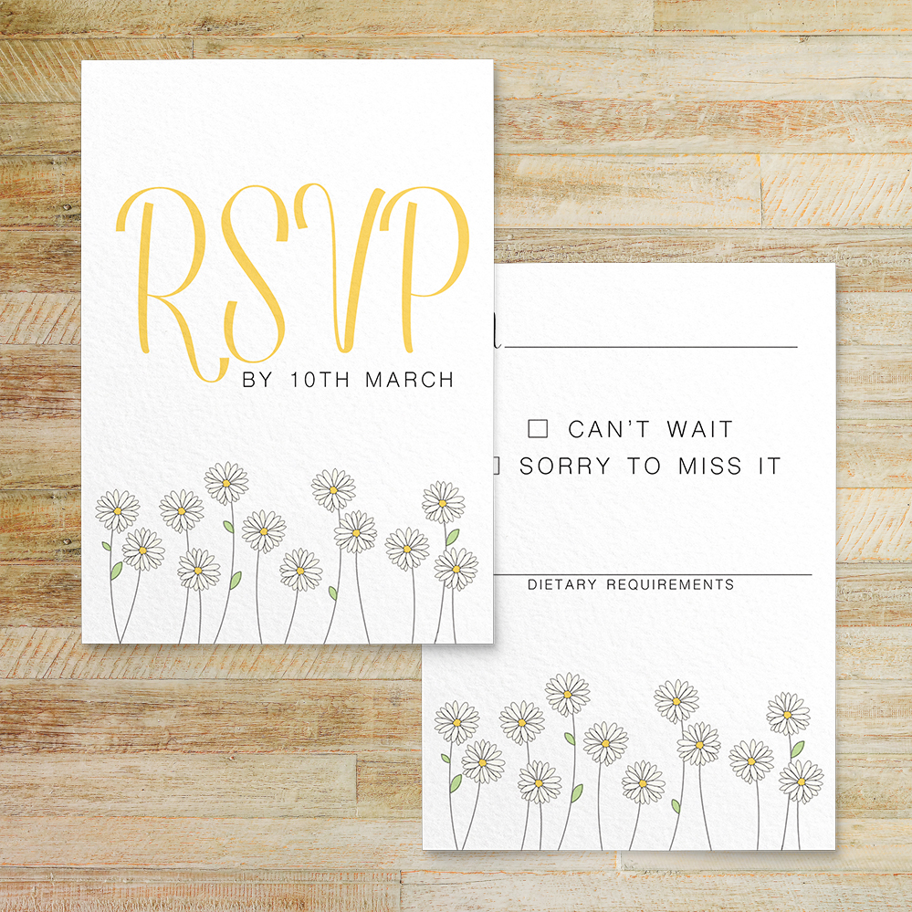 Yellow Daisy RSVP Card - lemon floral simple modern wedding stationery suite uk - Hawthorne and Ivory