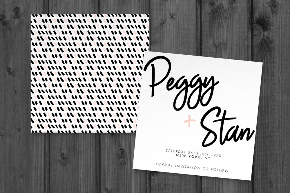 Black and Blush Save The Date - bold modern graphic wedding stationery suite uk - Hawthorne and Ivory