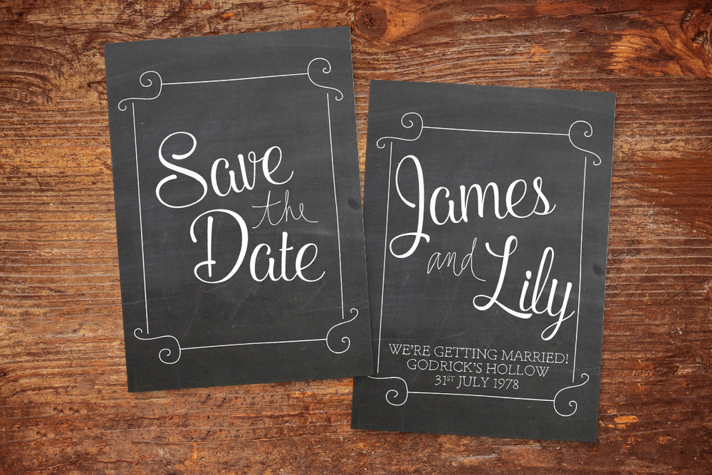 Chalkboard Save The Dates - rustic chalk slate grey wedding stationery suite uk - Hawthorne and Ivory
