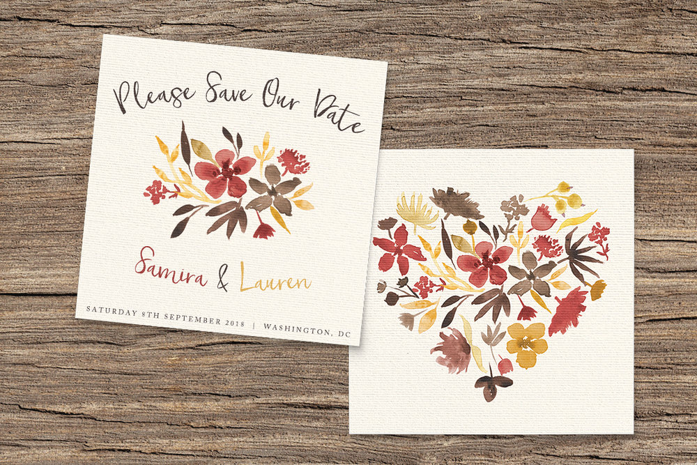 Cranberry and Mustard Save The Dates - burgundy red yellow autumn watercolour flowers wedding stationery suite uk - Hawthorne and Ivory