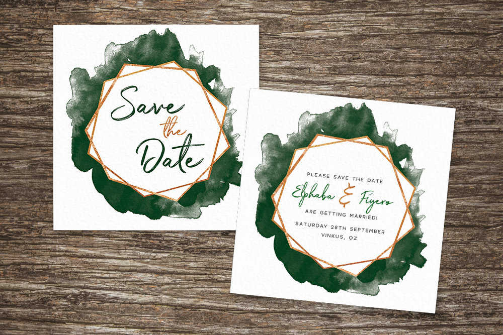 Geometric Emerald Save The Dates - modern green watercolour copper frame wedding stationery suite uk - Hawthorne and Ivory