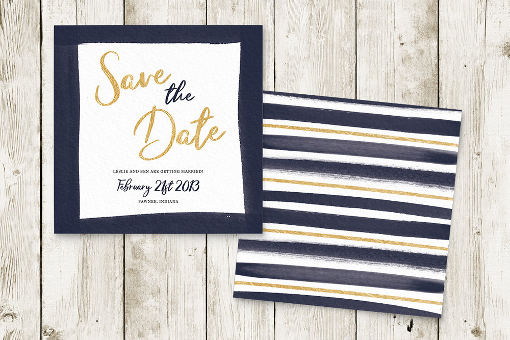 Navy and Gold Save The Dates - nautical stripe blue gold watercolour wedding stationery suite uk - Hawthorne and Ivory