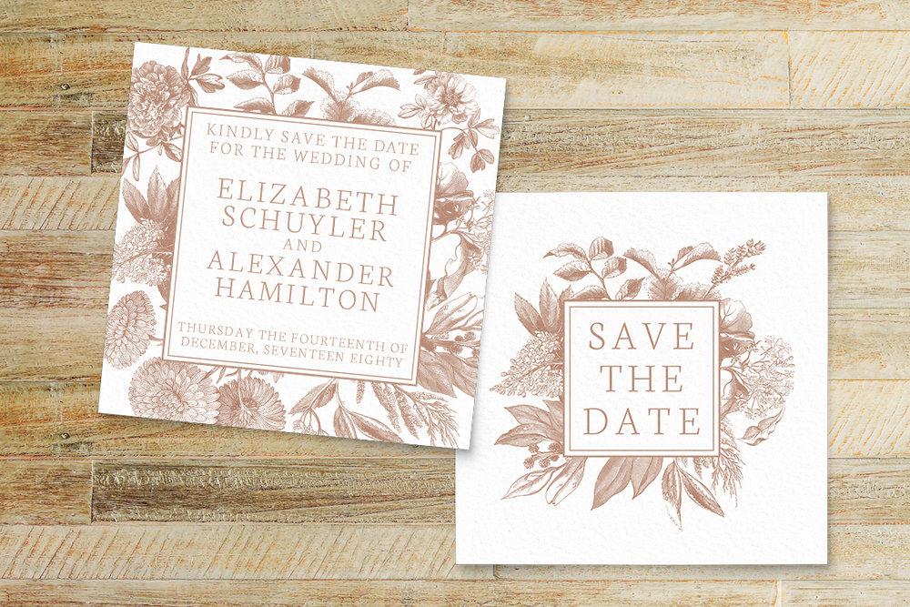 Nude Classic Save The Dates - vintage beige neutral floral wedding stationery suite uk - Hawthorne and Ivory