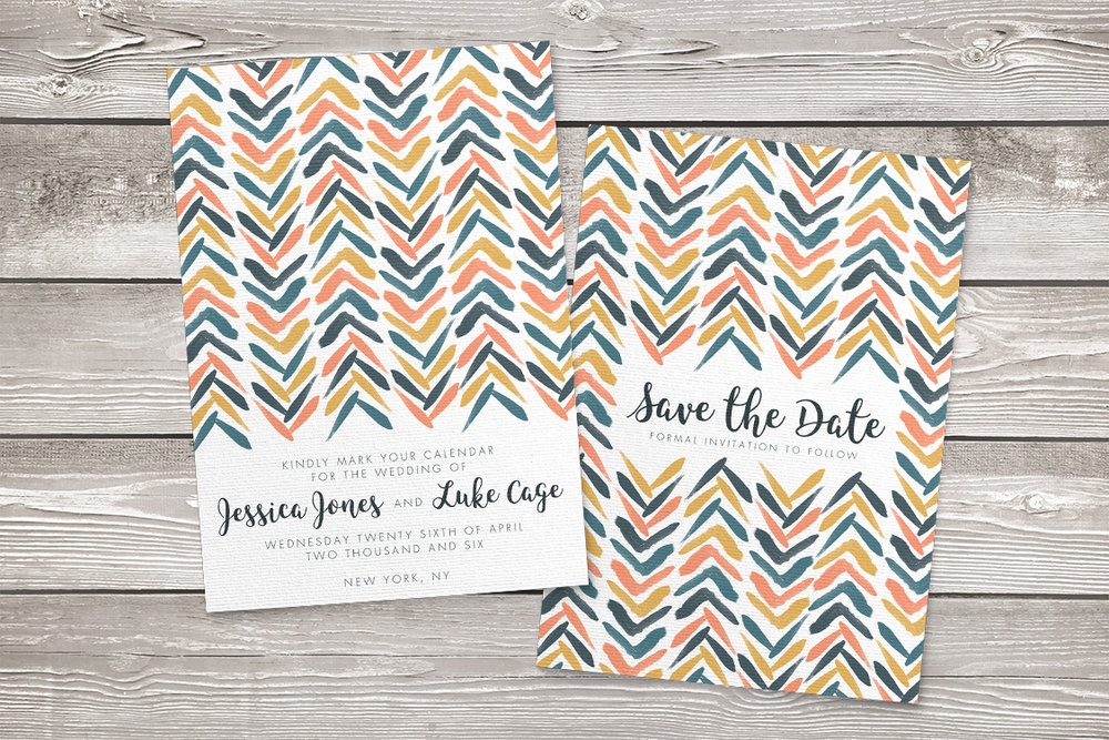 Retro Chic Save The Date - painted chevron modern mustard slate blue coral peach wedding wedding stationery suite uk - Hawthorne and Ivory