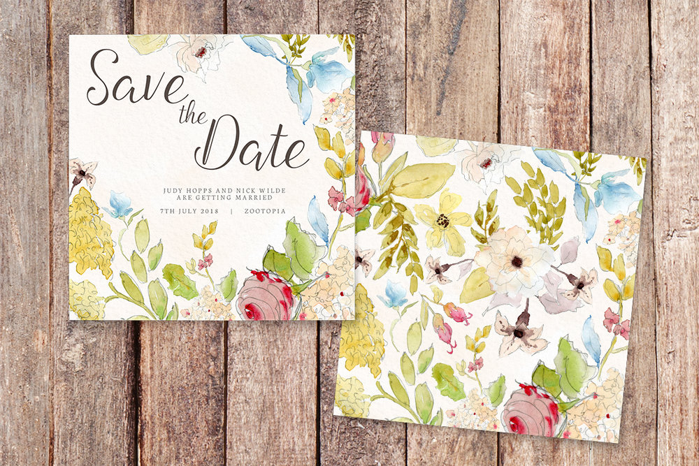 Shabby Chic Floral Save The Dates - watercolour flowers rose wedding wedding stationery suite uk - Hawthorne and Ivory