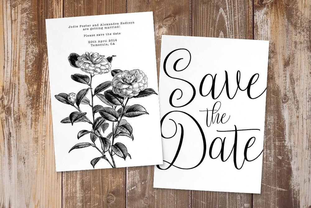 Simple Kraft Save The Dates - rustic simple botanical floral wedding wedding stationery suite uk - Hawthorne and Ivory