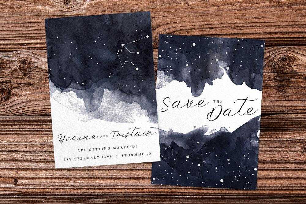 Starry Night Save The Dates - watercolour celestial stars constellation moon navy wedding wedding stationery suite uk - Hawthorne and Ivory