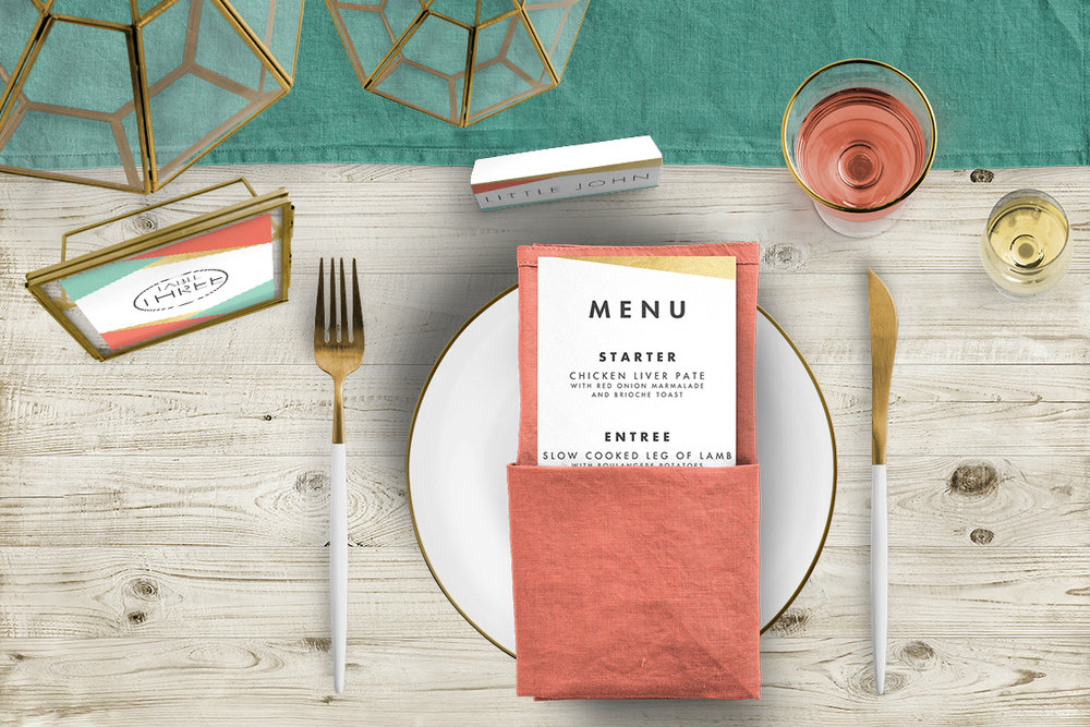 Aqua and Coral Geometry Tablescape - bold geometric wedding stationery place card menu table number UK - Hawthorne and Ivory