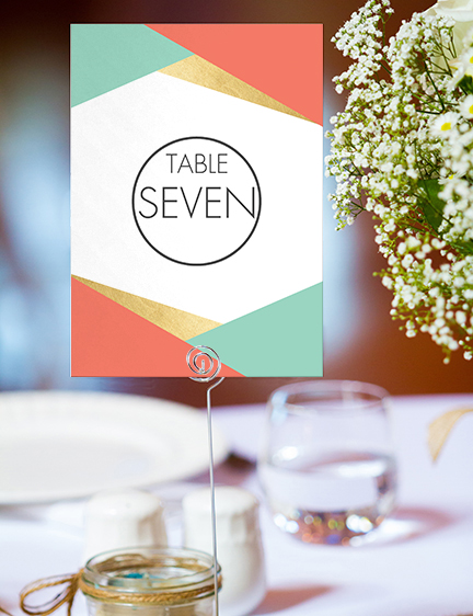 Aqua and Coral Geometry Table Number - bold geometric wedding stationery suite UK - Hawthorne and Ivory
