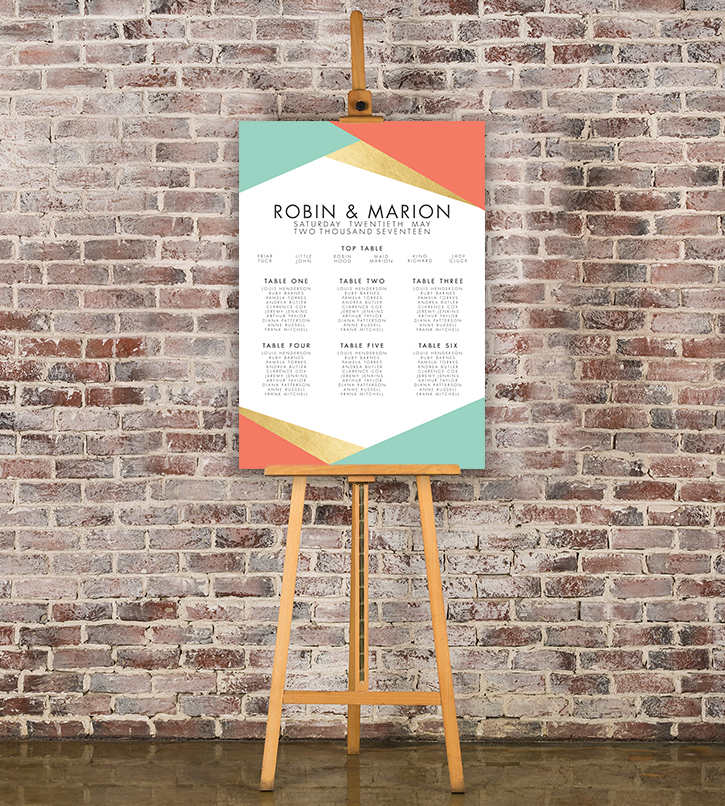 Aqua and Coral Geometry Table Plan - bold geometric wedding stationery seating chart UK - Hawthorne and Ivory