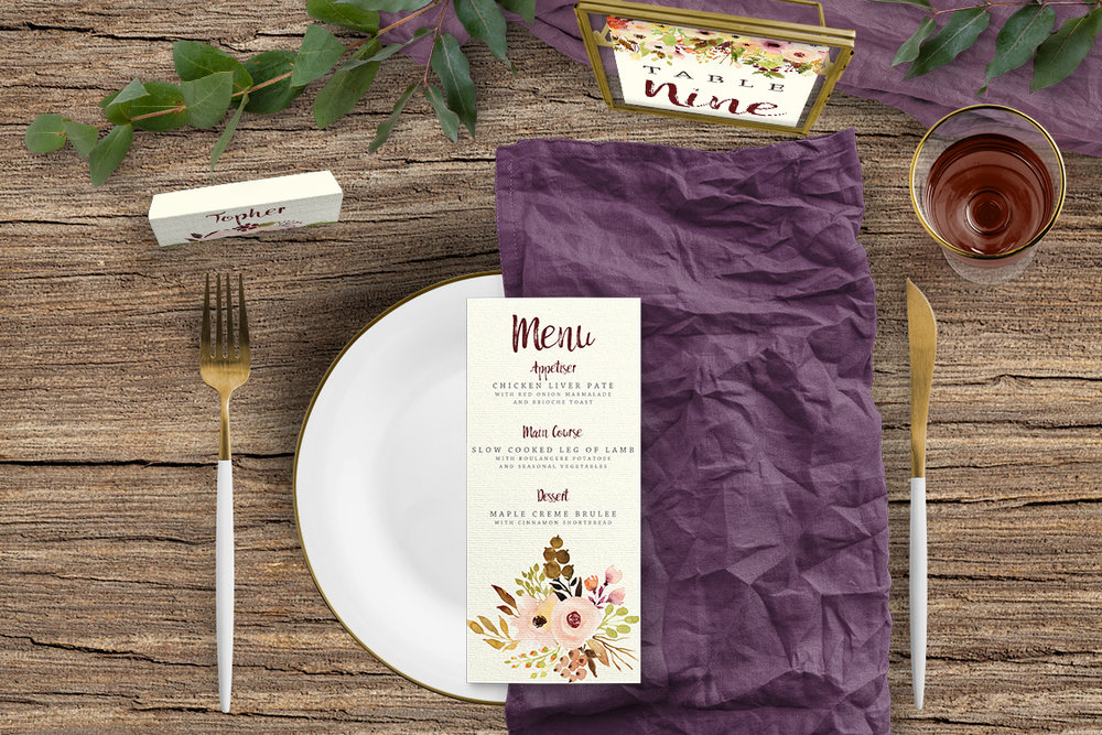 Autumn Flowers Tablescape - watercolour flowers wedding stationery place card table number menu UK - Hawthorne and Ivory