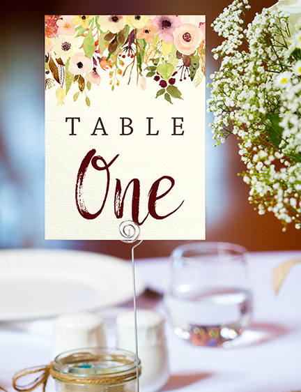 Autumn Flowers Table Number - watercolour flowers wedding stationery suite UK - Hawthorne and Ivory