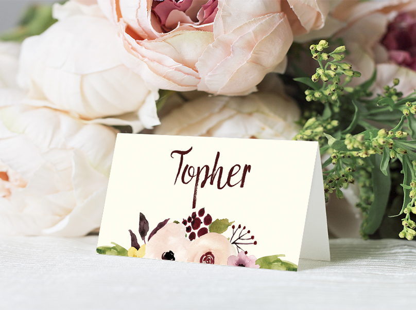 Autumn Flowers Place Card - watercolour flowers wedding stationery suite UK - Hawthorne and Ivory