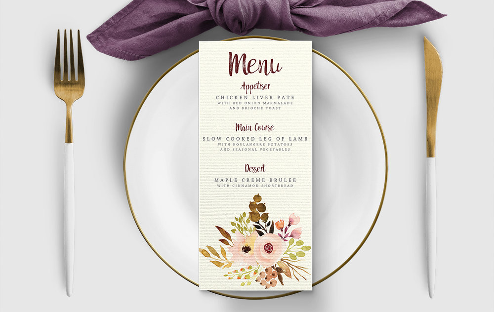 Autumn Flowers Menu Card - watercolour flowers wedding stationery suite UK - Hawthorne and Ivory