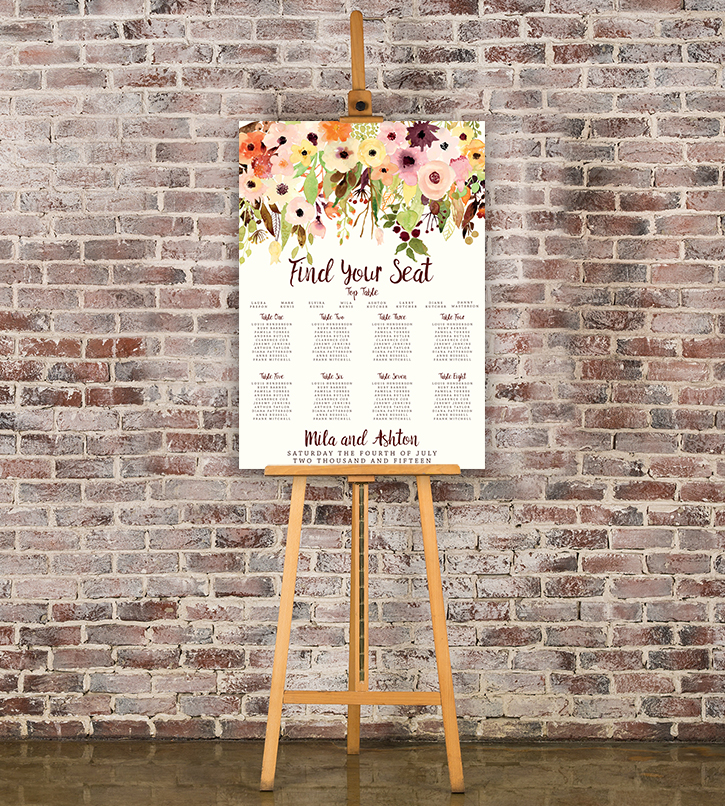 Autumn Flowers Table Plan - watercolour flowers wedding stationery seating chart UK - Hawthorne and Ivory