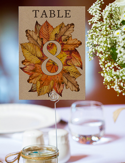 Autumn Leaves Table Number - watercolour painted leaves wedding stationery suite uk - Hawthorne and Ivory
