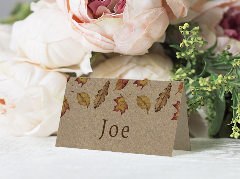 Autumn Leaves Placecard - watercolour painted leaves wedding stationery suite uk - Hawthorne and Ivory