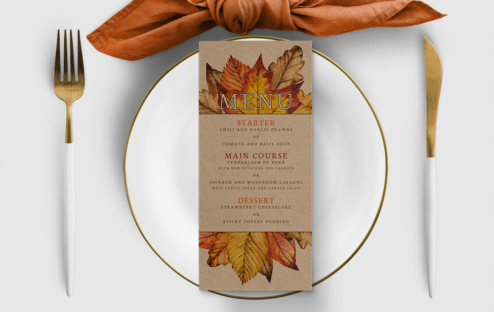 Autumn Leaves Menu Card - watercolour painted leaves wedding stationery suite uk - Hawthorne and Ivory