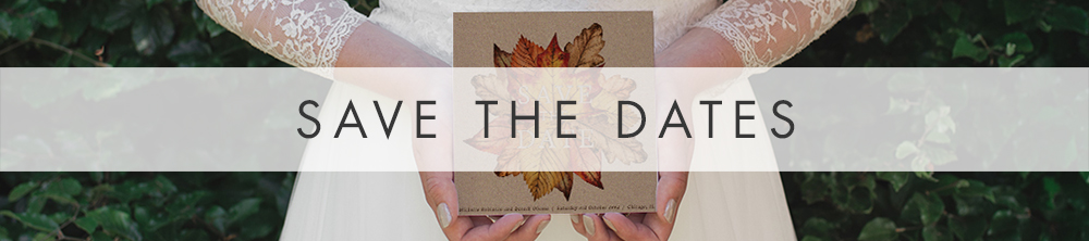 Autumn Leaves Save The Dates - watercolour painted leaves wedding stationery suite uk - Hawthorne and Ivory