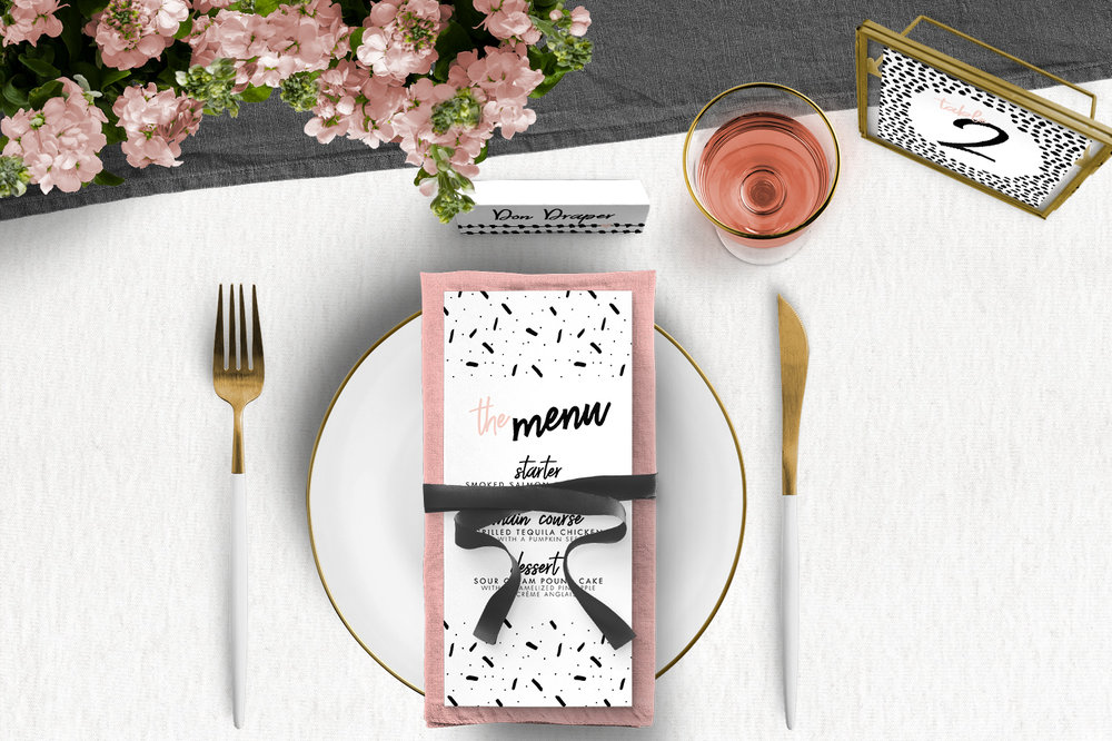 Black and Blush Tablescape - bold modern graphic wedding stationery place card menu table number uk - Hawthorne and Ivory