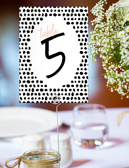 Black and Blush Table Number - bold modern graphic wedding stationery suite uk - Hawthorne and Ivory