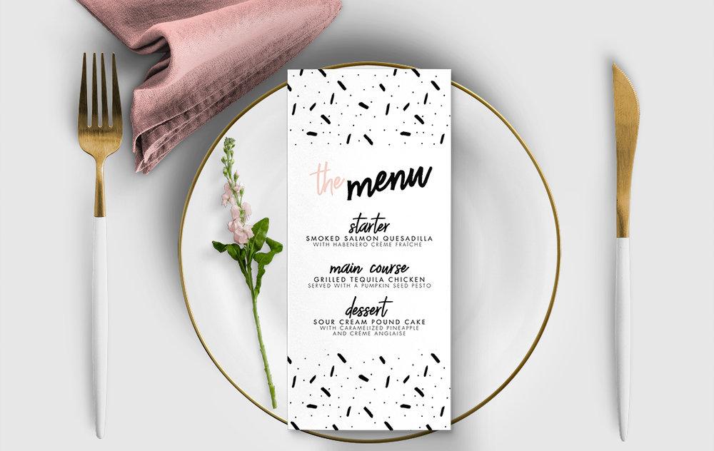 Black and Blush Menu Card - bold modern graphic wedding stationery suite uk - Hawthorne and Ivory