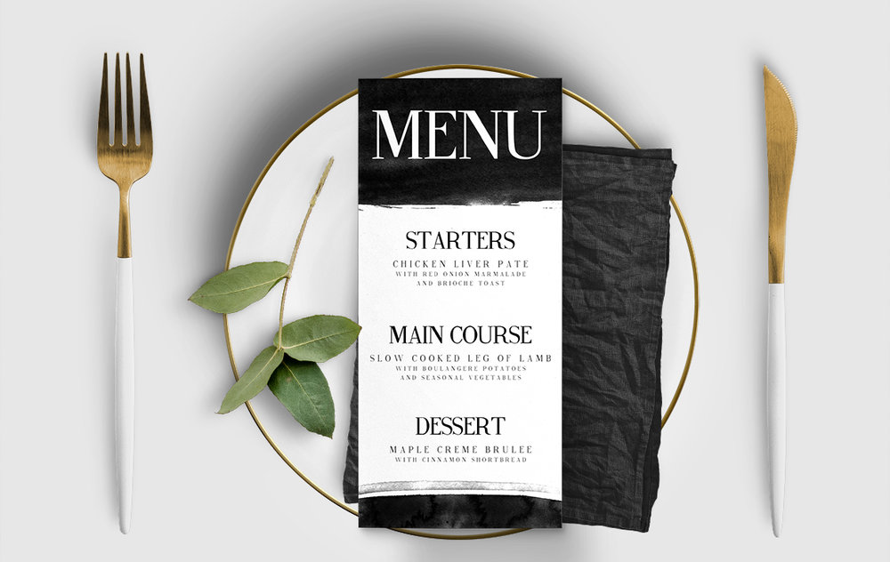 Black and White Menu - bold watercolour brushstrokes wedding stationery suite uk - Hawthorne and Ivory