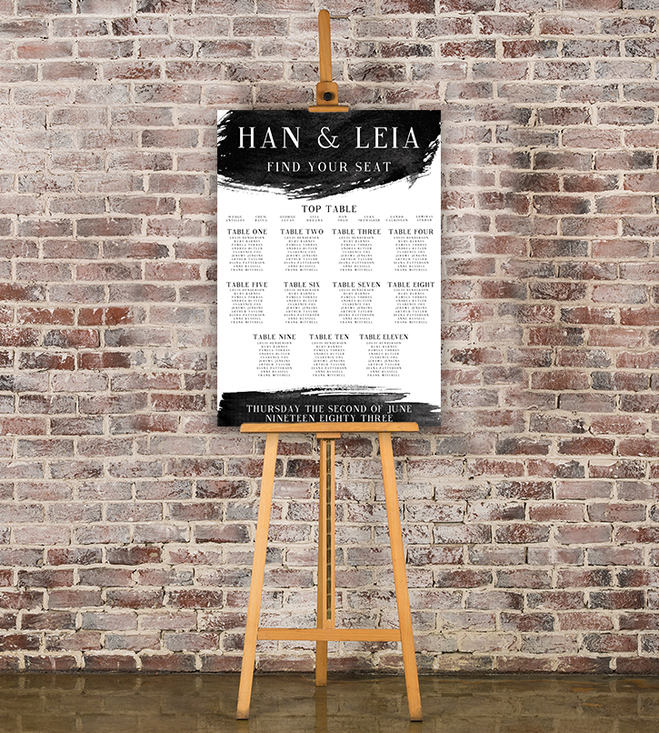 Black and White Table Plan - bold watercolour brushstrokes wedding stationery seating chart uk - Hawthorne and Ivory