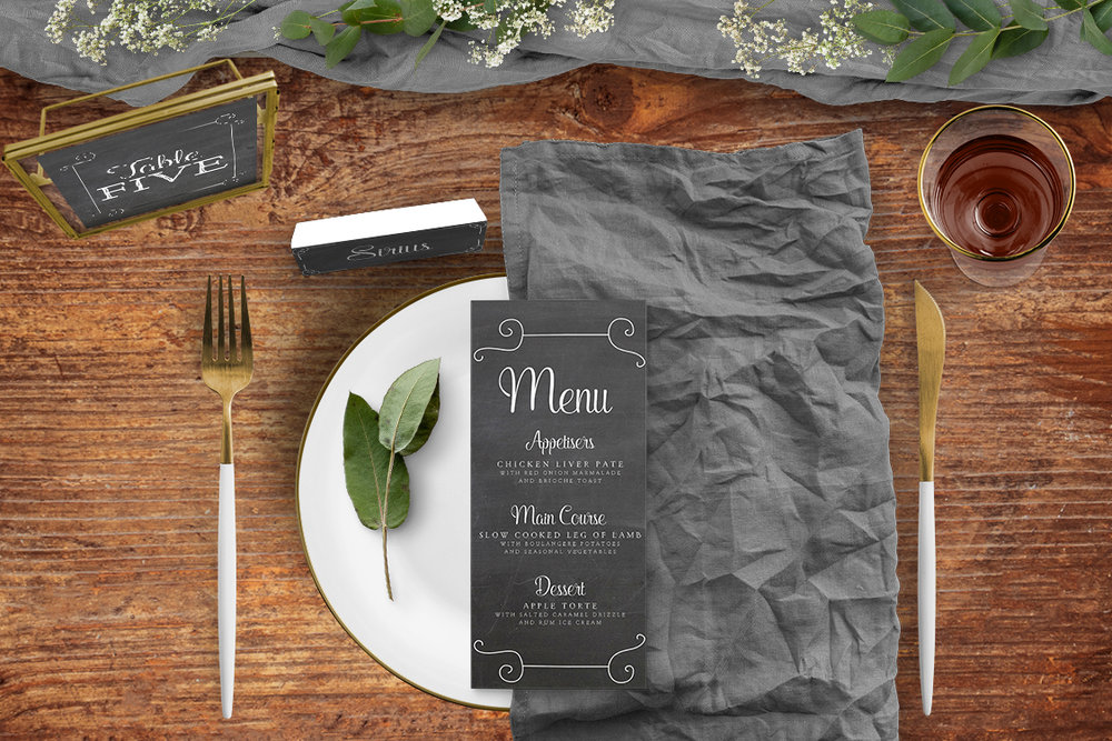 Chalkboard Tablescape - rustic chalk slate grey wedding stationery place setting menu card table number uk - Hawthorne and Ivory