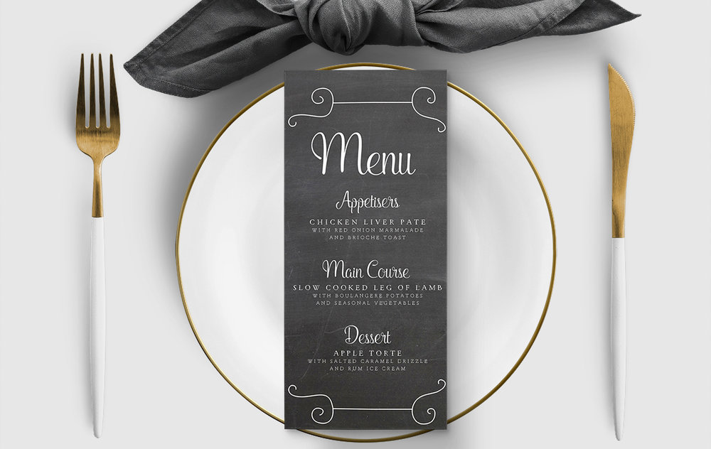 Chalkboard Menu - rustic chalk slate grey wedding stationery suite uk - Hawthorne and Ivory