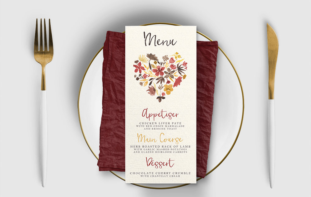 Cranberry and Mustard Menu - burgundy red yellow autumn watercolour flowers wedding stationery suite uk - Hawthorne and Ivory