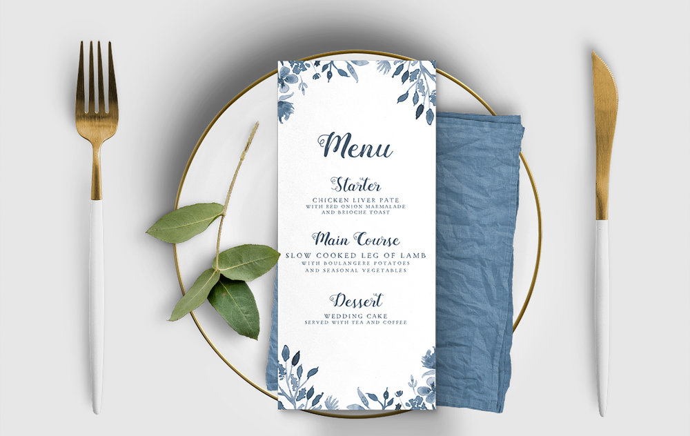 Dusky Blue Menu - blue watercolour floral wedding stationery suite uk - Hawthorne and Ivory