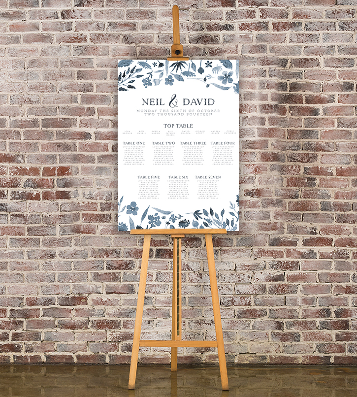 Dusky Blue Table Plan - blue watercolour floral wedding stationery seating chart uk - Hawthorne and Ivory