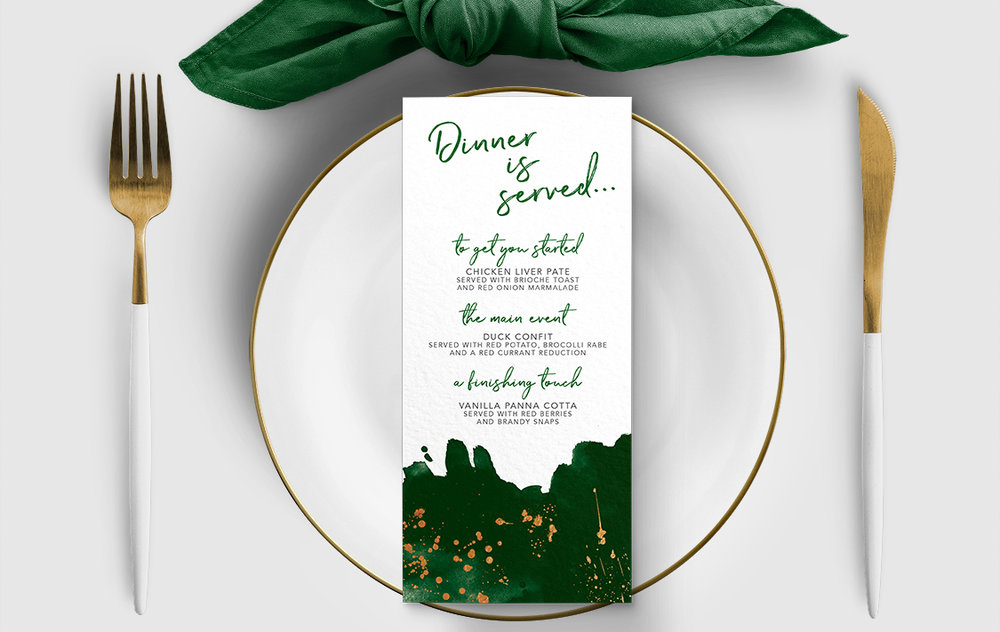 Geometric Emerald Menu - modern green watercolour copper frame wedding stationery suite uk - Hawthorne and Ivory