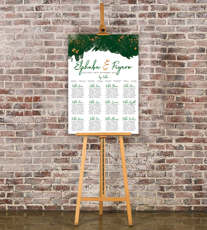 Geometric Emerald Table Plan - modern green watercolour copper frame wedding stationery seating chart uk - Hawthorne and Ivory
