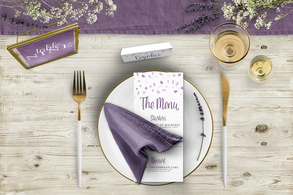 Lavender Petals Tablescape - lilac pastel purple wedding stationery place setting menu card table number uk - Hawthorne and Ivory