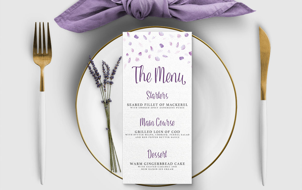 Lavender Petals Menu - lilac pastel purple wedding stationery suite uk - Hawthorne and Ivory